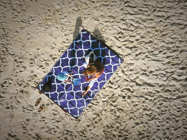 Moroccan Designed Recycled Mat Purple Outdoor Beach