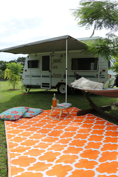 Moroccan Designed Recycled Mat Orange Outdoor Camping Caravaning Summer Picnic Table
