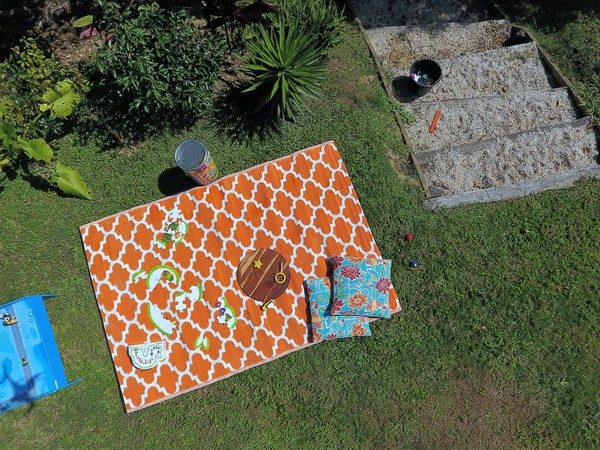 Moroccan Designed Recycled Mat Orange Outdoor Lake side