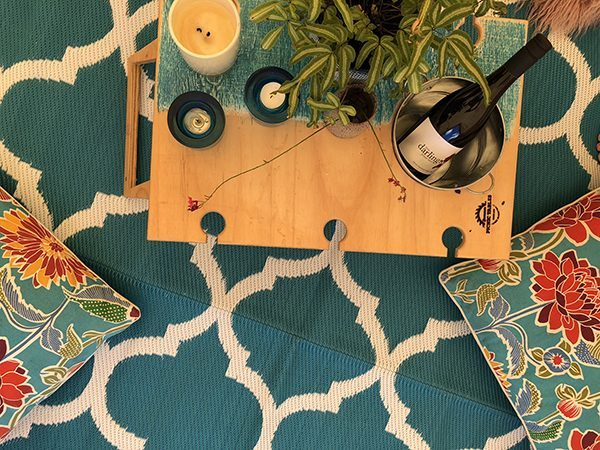 GKOZ399D Teal White Moroccan Mat tent banquet summer picnic wine table