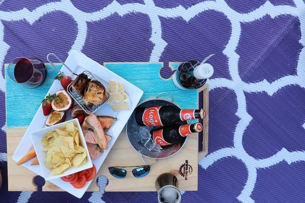 Banquet Picnic Table Blue Bay Purple Moroccan Recycled Mat