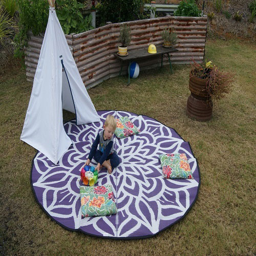 Mandala Recycled Mat Purple White Outside