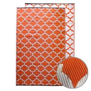 Moroccan Designed Recycled Mat Orange Outdoor Camping Classroom Mat