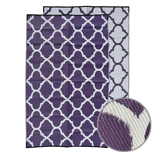 GKOZ399B Moroccan Purple Outdoor Recycled Mat Unique Design