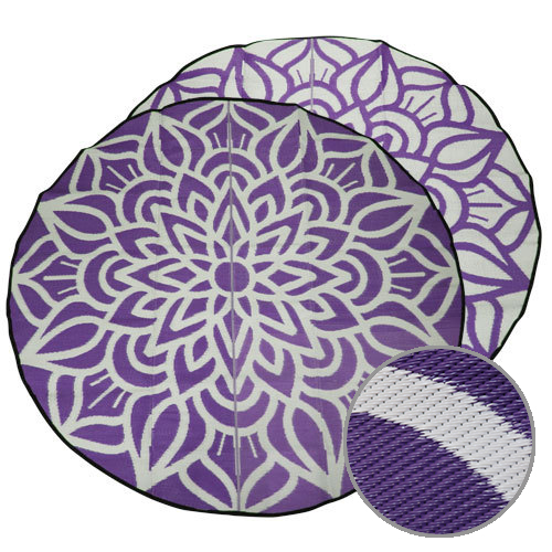 Mandala Designed Recycled Floor Mats - glamping supplies, camping mat or picnic mat