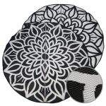GKOZ55C Recycled Mats black white Mandala