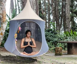 Ivory Cabana Treepod meditating retreat