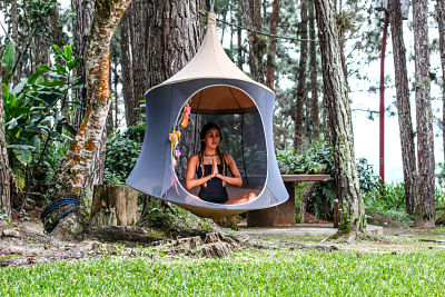 relax in the treepod outdoors or indoors