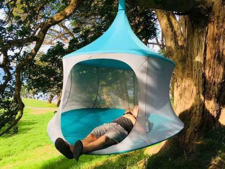 TreePod, hammock, hanging chair, day tent outdoors, hanging tent, glamping
