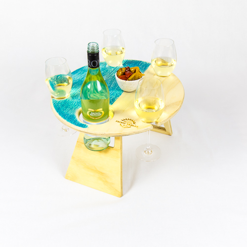 Summer, Picnic, Wine, Table, foldable, portable, compact, round, blue, wood, wine, glass, and bottle holder