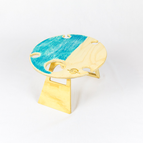 Summer, Picnic, Wine, Table, foldable, portable, compact, round, blue, wood, wine glass holder