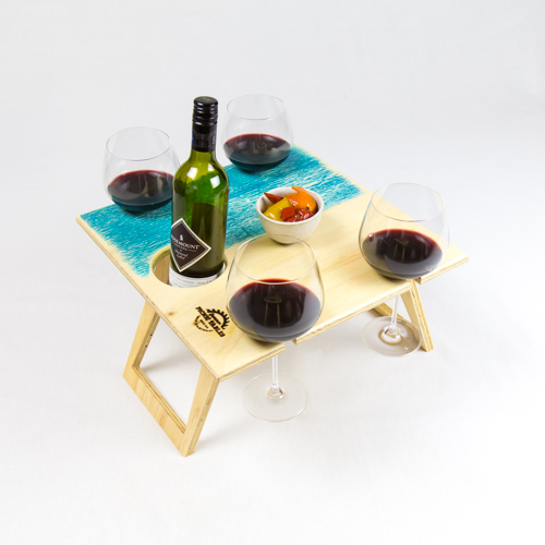 Summer Picnic Wine Table foldable portable compact square blue wine glasses bottle holder