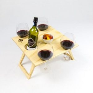 Summer wine picnic table, folding picnic table, wine glass holders, bottle holder, fold flat