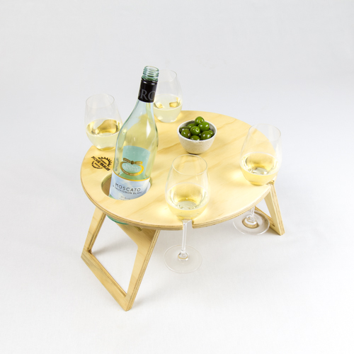 Summer Picnic Wine Table foldable portable compact round natural wood wine glass and bottle holder
