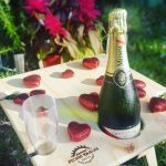 Summer Picnic Wine Table foldable portable compact Square Natural Love Hearts
