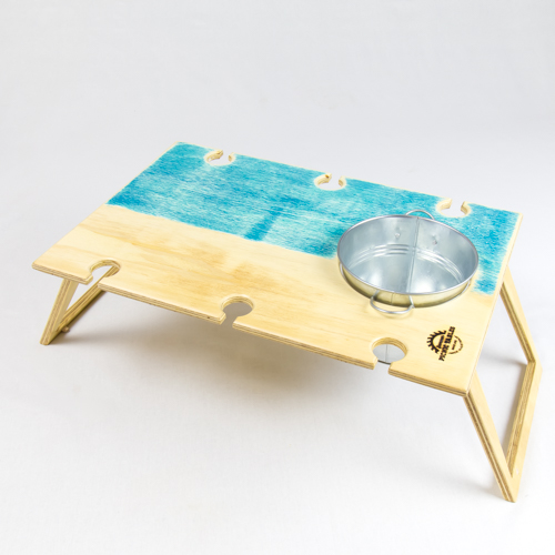 Summer Picnic Wine Table foldable portable compact banquet blue bay wine bucket and places for six wine glasses