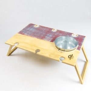 Summer Picnic Wine Table foldable portable compact banquet sunset wine bucket and places for six wine glasses