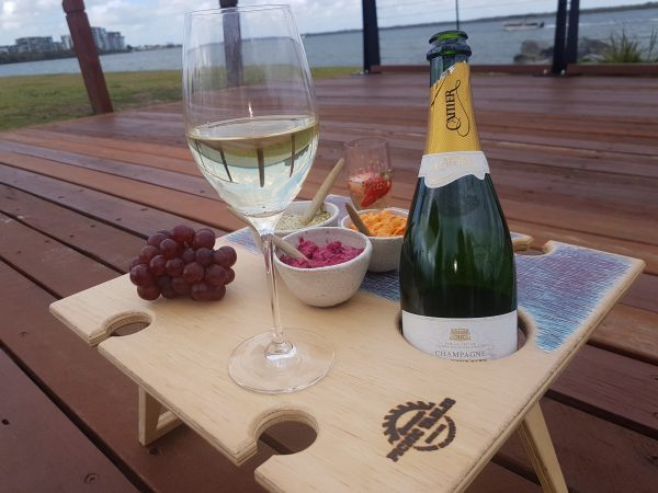 Summer Picnic Wine Table foldable portable compact deck