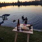 Summer Picnic Wine Table foldable portable compact lake side