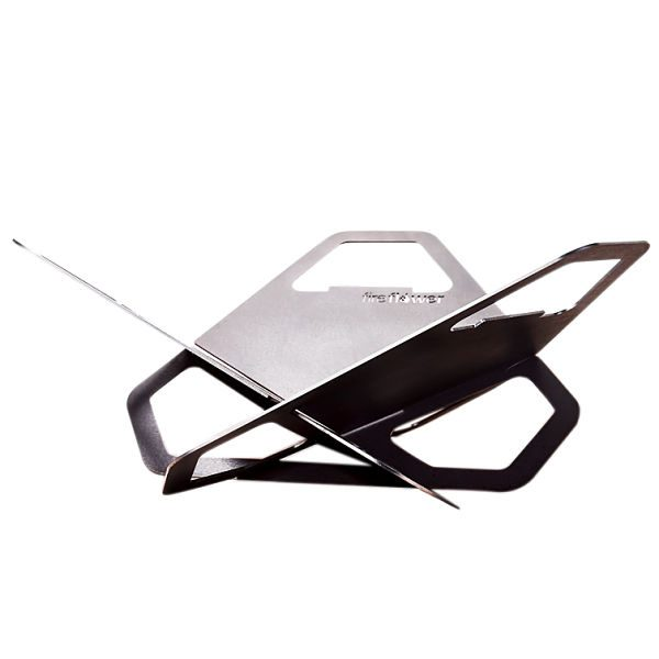 Fireflower, assembled, grill, portable, compact, brazier, bbq, view from side_2_opt
