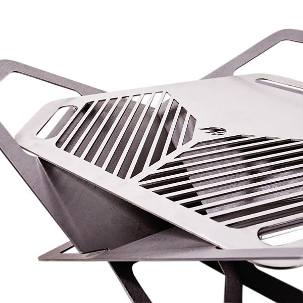 fireflower, fire pit, brazier, stainless steel, camping, glamping, bbq, Detail_no fire