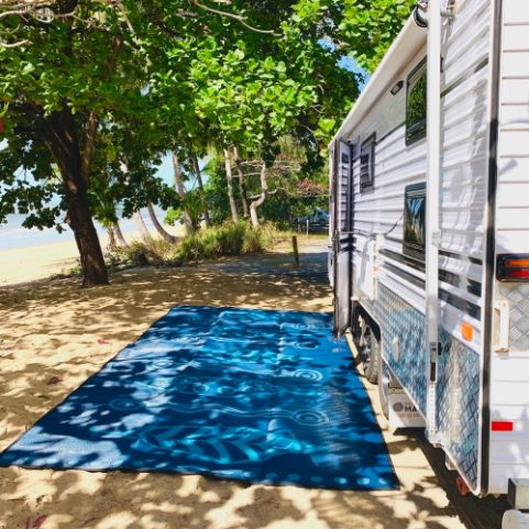 Caravan, Annex, Motorhome, Outdoor Mats - Gum Leaves blue teal set up, beach mat