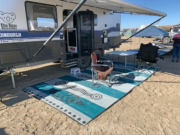 Caravan, Annex, Motorhome, Outdoor Mats - Gum Leaves blue teal set up, beach