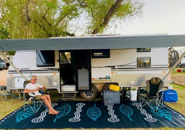Caravan, Annex, Motorhome, Outdoor Mats - Gum Leaves black, grey, teal set up