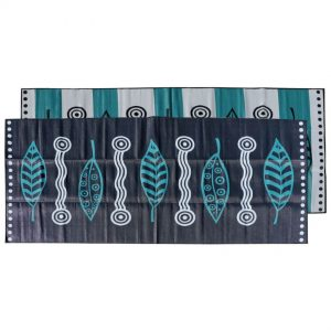 Caravan, Annex, Motorhome, Outdoor Mats - Gum Leaves black, grey, teal