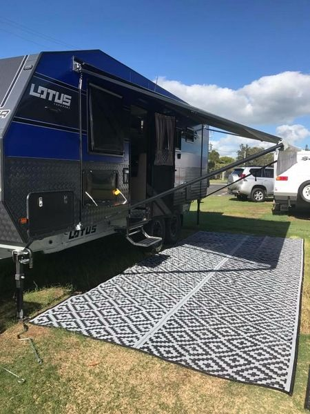 Caravan, Motorhome, Annex, Outdoor Mats - diamond Black grey