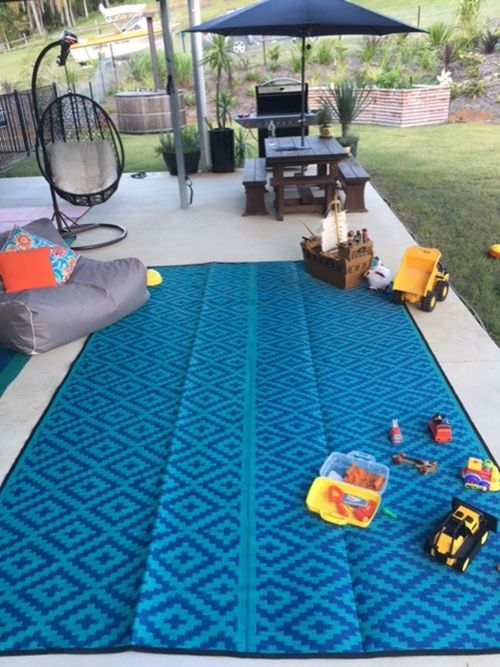 Caravan, Motorhome, Annex, Outdoor Mats - diamond Blue teal, outdoor deck, patio mat