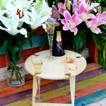 Round, Lovers, Heart Portable, Foldable, Picnic Table, Champagne