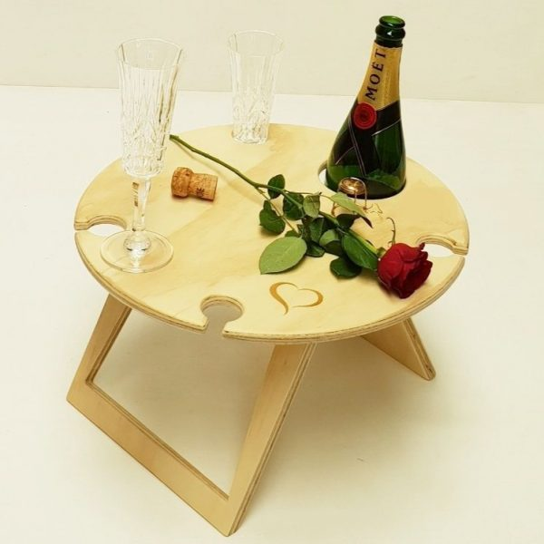Round, Lovers, Heart Portable, Foldable, Wine, Picnic Table