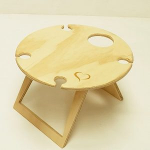 Round, Lovers, Heart Portable, Foldable, Wine, Picnic Table, undressed