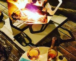Fireflower, fire pit, brazier, portable, bbq, stove, wine, picnic, table, portable, outdoor area
