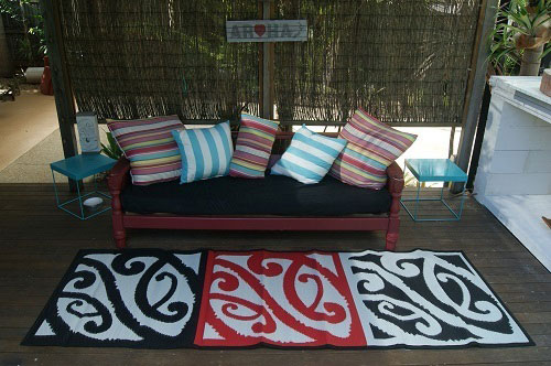 Mangopare, runner, deck, tent, entrance, red, black, white, camping, glamping, outdoor, entertaining, area