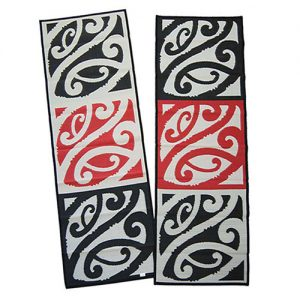 Mangopare, runner, hallways, entrances, red, black, white, reversible, Maori design, playmat