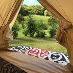 Mangopare, runner, hallway, tent, entrance, red, black, white, camping, glamping