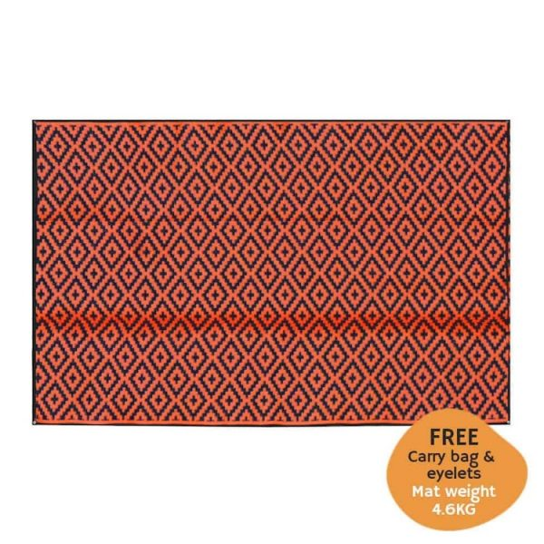 Caravan, Motorhome, Annex, Awning, Outdoor Camping, Mats, rug, eyelets - diamond Black, orange