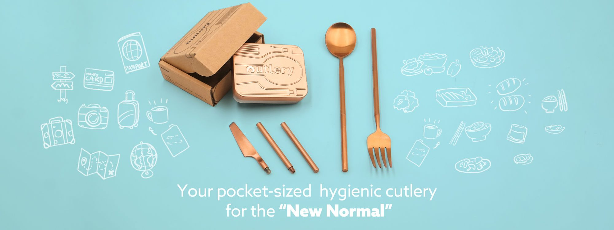 Outlery, sustainable, reusable, compact, travel, single-use, single-use plastic, cutlery, wooden utensils