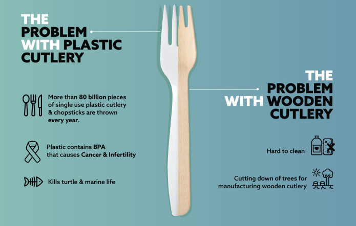 Problem, with, single-use plastic, wooden utensils, disposable, cutlery