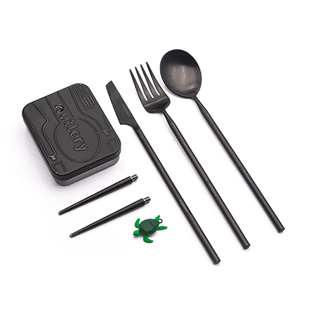 outlery, full, set, reusable, travel, cutlery, set, black, plastic free, compact