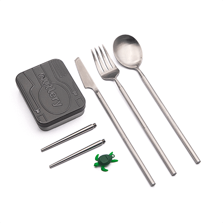 outlery, full, set, reusable, travel, cutlery, set, silver, stainless, steel