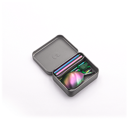 outlery, reusable, travel, cutlery, set, rainbow, multi, compact, portable, folded, packaged