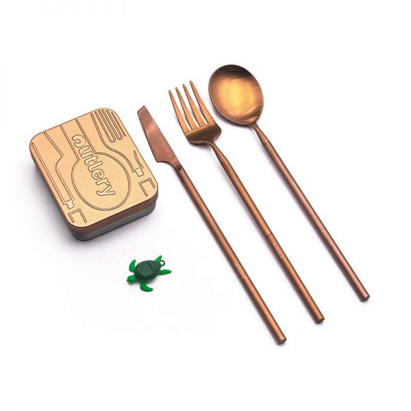 outlery, reusable, travel, cutlery, set, rose, gold, portable, plastic free, stainless steel
