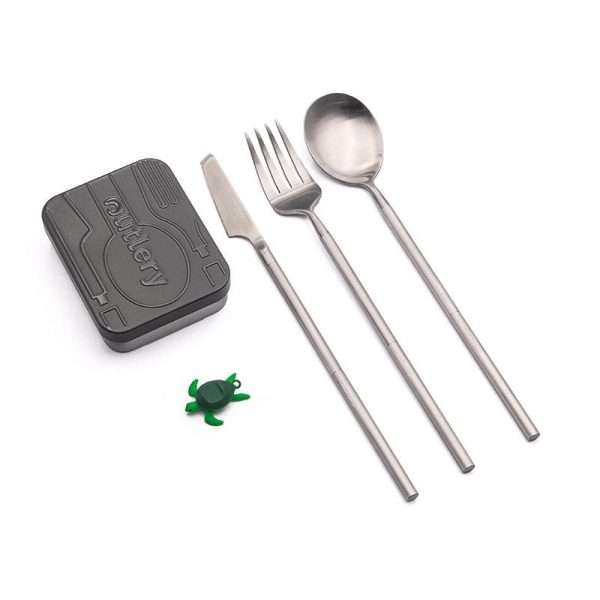 outlery, reusable, travel, cutlery, set, silver, stainless steel, portable, plastic free